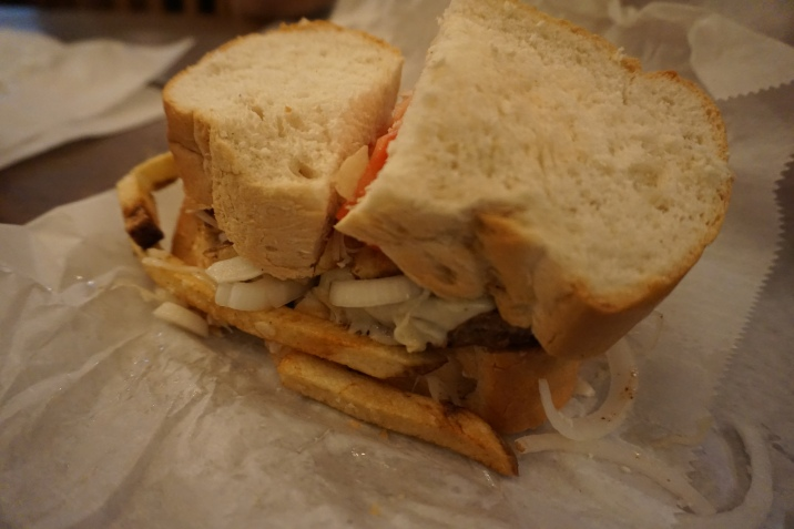 Primonti's sandwich- they put the fries and the cole slaw on the sandwich...seriously...