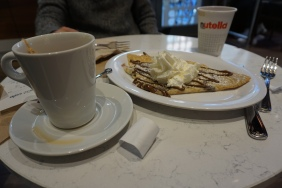 "Took my husband to very, very slow movie. This was his reward: Nutella Crepe (i don't normally go to ""name"" stores, but this was too good to pass up...)"