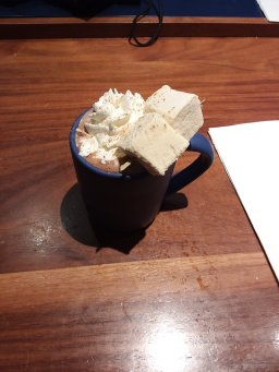 Daily Provisions hot chocolate...marshmallows and whipped cream...I didn't even need the chocolate