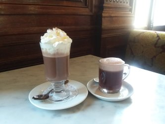 Hot chocolate and gluhwein at Cafe Sabarsky