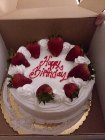 because they didn't buy enough food they got the largest strawberry short cake available (no- we didn't eat dinner)